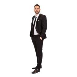 Κουστούμι slim fit DIGEL με μαύρη λεπτομέρεια στο πέτο (μαύρο)