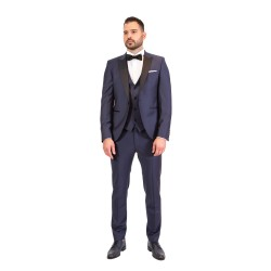 Κουστούμι slim fit DIGEL με μαυρο πέτο (μπλε)