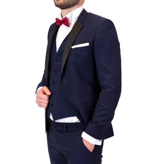 Κουστούμι slim fit με μαύρο πέτο DIGEL (μπλε)