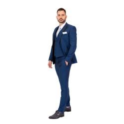 Κουστούμι με μαύρη λεπτομέρεια στο πέτο slim fit REPORTER (ρουά)