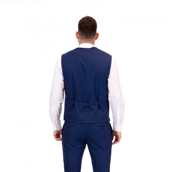 Κουστούμι slim fit REPORTER (μπλε καρό)