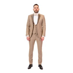 Κουστούμι slim fit με δίχρωμο πέτο REPORTER (μπεζ)